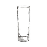 Hand drawn highball glass. Sketch, vector illustration. - 201610199