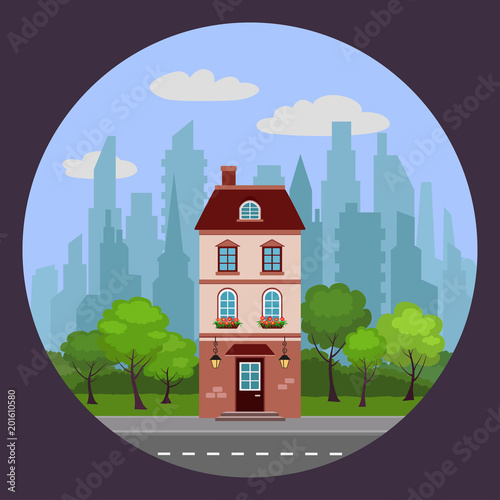 Sticker Vector illustration of house with lanterns in background of trees and cityscape