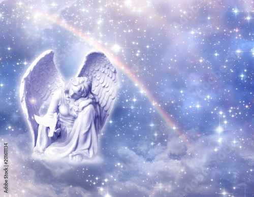 angel archangel Haniel over mystical, angelic divine background with rainbow and stars  - 201611134