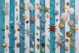 collection of sea shells on a white blue wooden background - 201614348