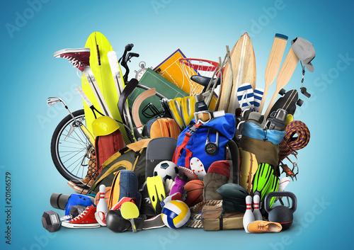 Fototapeta Sports equipment has fallen down in a heap
