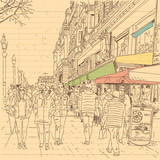 european city street and peoples in hand drawn line sketch style - 201619122