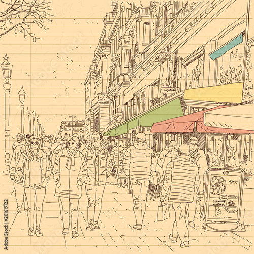 Sticker european city street and peoples in hand drawn line sketch style