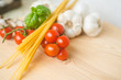 Pasta, Tomato, Garlic and Basilic ready for cooking - 201621741