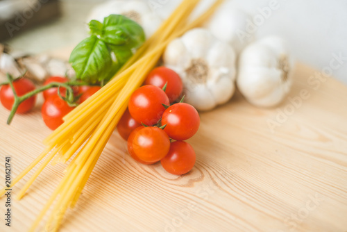 Pasta, Tomato, Garlic and Basilic ready for cooking