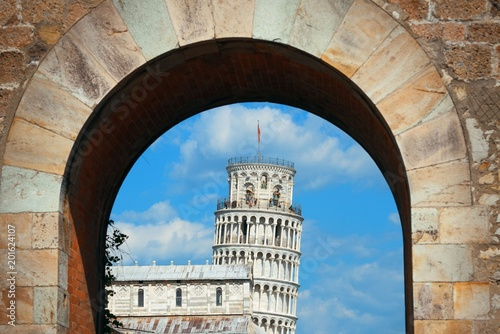 Leaning tower in arch in Pisa