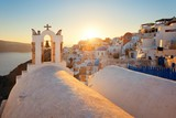 Santorini skyline sunset bell