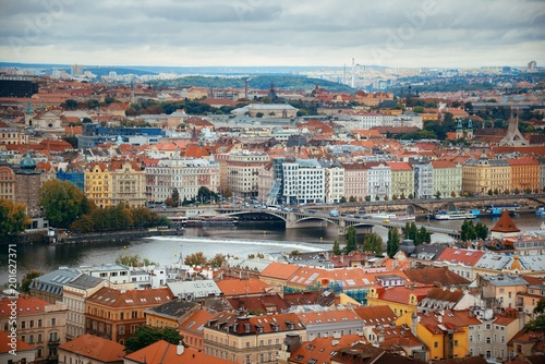 Prague skyline and bridge