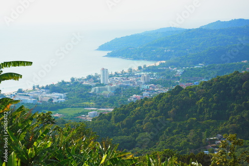 Foto Murales Sea view and Sky City View Harbor and beautiful sea From the top of the mountain in Phuket, Thailand.