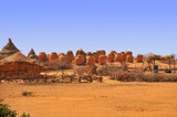 Village with  clay, jags for crops  in the area of Sahel   in Chad