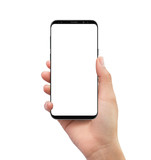 Isolated human right hand holding black mobile white screen smartphone - 201634712