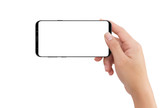 Isolated human right hand holding black mobile white display smartphone - 201634746