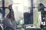 Business people in office connected on internet network. concept of startup company. double exposure - 201640984