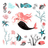 Funny cartoon mermaid surrounded by tropical fish, animal, seaweed and corals.  Sea life. Set of cute isolated vector illustrations on white background
