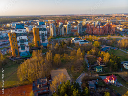 Foto Murales aerial view of imanta riga small forest