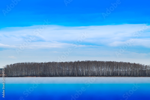Dramatic forest on river horizon background