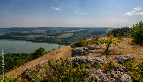 Foto Murales Scenic panorama view from the hill to the reservoir on the Dniester river, Ukraine.
