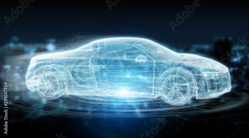 3d rendering samochodowy nowożytny cyfrowy interfejsu mądrze