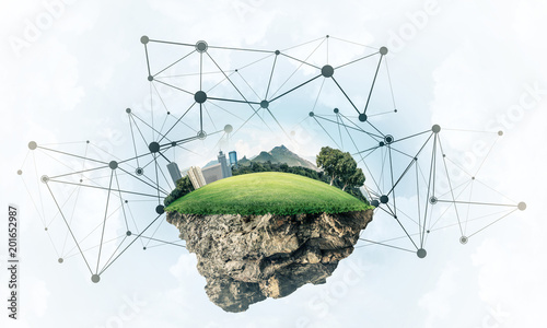 Foto Murales Concept of modern networking technologies and eco green construc