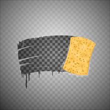 Yellow Sponge Wiping Glass Transparent Effect  Illustration Sticker