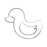 duck rubber toy children image vector illustration sketch