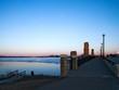 Mississippi River Bridge at frozen Lake Bemidji at sunset in mid April in Bemidji Minnesota