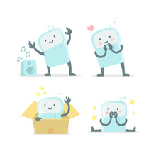 Emoji Sticker Set Icon Baby Robot Toy Cute Small New Robot Surprised And Shy Very Cute For Child Toy Flat Color  Illustration Sticker