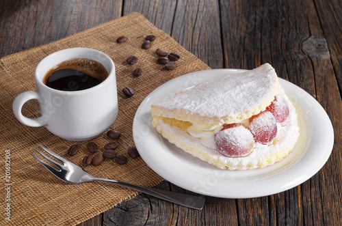 Wall mural Coffee and cake with grape