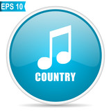 Music country blue glossy round vector icon in eps 10. Editable modern design internet button on white background. - 201694764