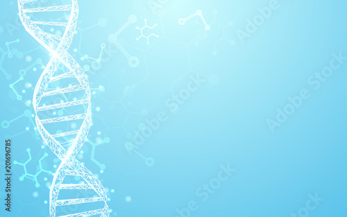 Wireframe DNA molecules structure mesh on soft blue background. Science and Technology concept - 201696785