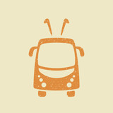 Trolleybus vector icon in grunge style