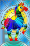 Illustration in stained glass style with abstract geometric rainbow Zebra - 201699146