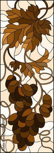 The illustration in stained glass style painting with a bunch of grapes and leaves ,brown tone, Sepia © Zagory