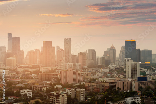 Sunset tone over Bangkok city business downtown, Thailand - 201701326