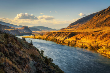 Thompson River at sunset in British Columbia, Canada