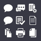 Text filled vector icon set on dark blue background
