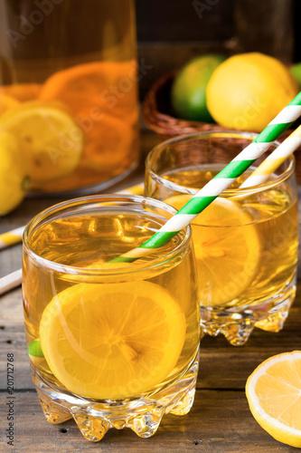 Refreshing cold tea with lemon