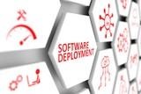 Software deployment concept cell blurred background 3d illustration