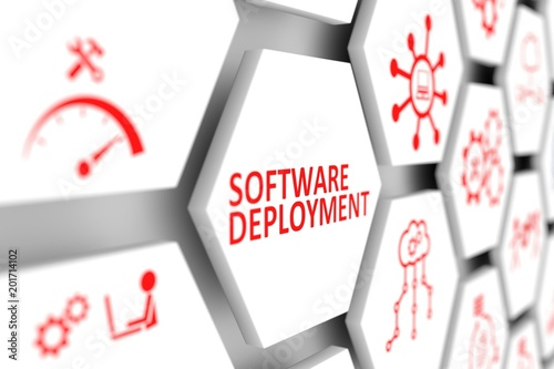 Software deployment concept cell blurred background 3d illustration - 201714102