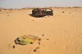 Libyan army quipment  destroyed during  military conflict with Chad in Fada district