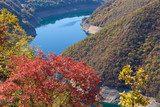 Mountain landscape view in canyon of river Piva at Montenegro