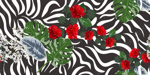 Tropical seamless floral pattern with roses and zebra print. Horizontal floral background for printing on fabric, clothing, home textiles, wallpaper, gift wrapping. - 201721565