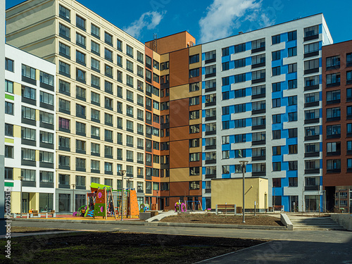 Foto Murales New modern low rise apartment complex. Moscow, Russia