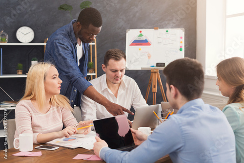 Fridge magnet Company coworkers discussing ideas in office