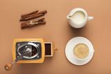 Preparing coffee background, top view - 201736551