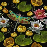 Classical embroidery pink and white lotuses, water lilies and dragonfly, template fashionable seamless pattern clothes, t-shirt design vector. Water lily embroidery seamless pattern - 201737305