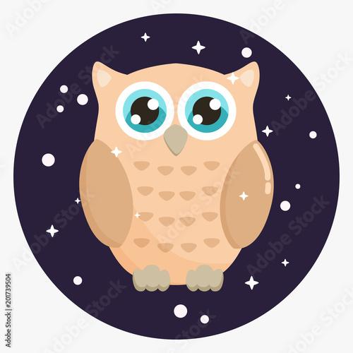 Cute owl vector illustration. Flat design