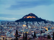 View of Athens city with Lycabettus hill in the background. view of Athens city with Plaka neighborhood