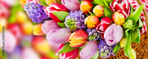 canvas print picture Springtime flowers and decorations