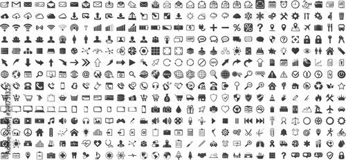 Black web business technology icons set © sdecoret